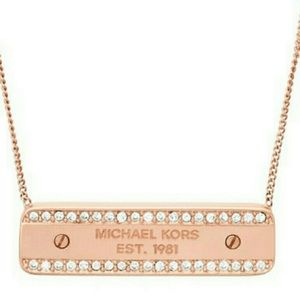 Authentic MK rose gold tone logo plaque necklace